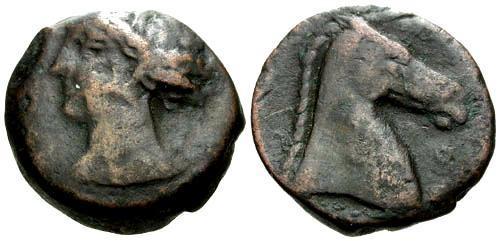 Ancient Coins - gF/gF Carthage Zeugitana AE19 / Horses Head
