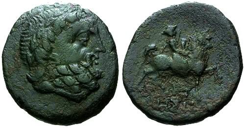 Ancient Coins - VF/VF Thrace Odessos Autonomous AE23 / Zeus and horseman