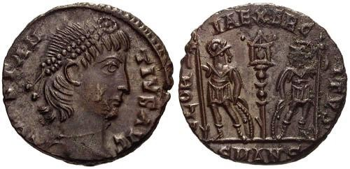 Ancient Coins - EF/EF Constantius II AE / Two Soldiers