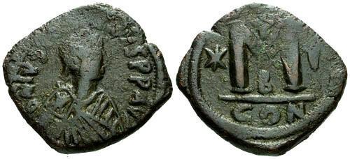 Ancient Coins - VF/VF Justinian I Follis