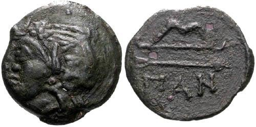 Ancient Coins - aVF/F Pantikapaion AE / Pan and Bow and Arrow