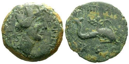 Ancient Coins - VF/VF Carteia Spain AE19 Semis Time of Augustus / Eros riding dolphin