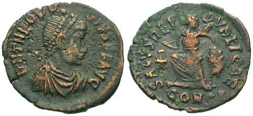 Ancient Coins - aVF/aVF Theodosius AE4 / Victory Dragging Captive