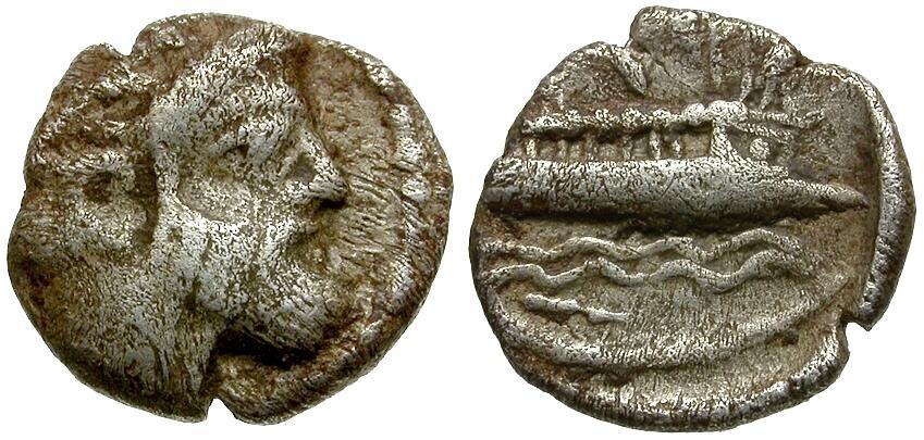 Ancient Coins - Phoenicia. Arados AR Obol / Marine Deity