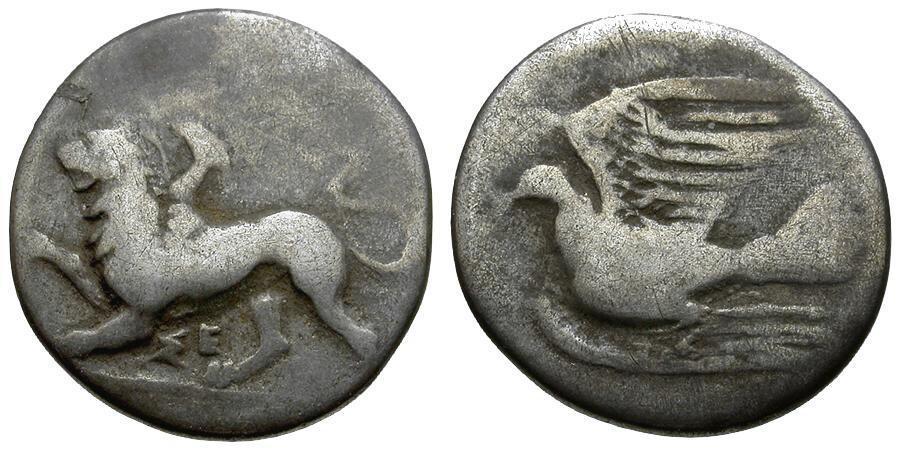 Ancient Coins - Sikyonia.  Sikyon AR Triobol / Chimera