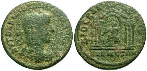 Ancient Coins - F/F+ Philip I Syria Cyrrhestica Cyrrhus AE28 / Temple of Zeus