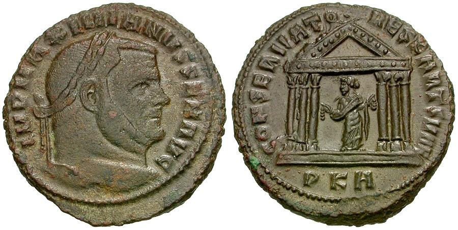 Ancient Coins - Maximian, as Senior Augustus (AD 306-307) AE Follis / Carthage in Temple