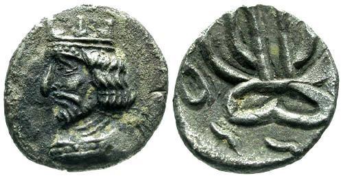 Ancient Coins - EF/EF Kingdom of Persis AR Obol / Namopat
