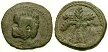 World Coins - gF+/aVF Norman Kings of Sicily, William II Æ Trifollaro / Lion Mask / Palm