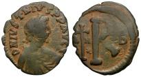 Ancient Coins - Byzantine Empire.  Justin I Æ Half-Follis