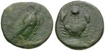 Ancient Coins - Sicily. Akragas Æ Onkia / Crab