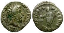 Ancient Coins - Marcus Aurelius AR Denarius / VOTA DECENN