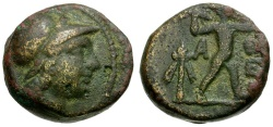 Ancient Coins - Attica. Athens. Mithradatic War Issue Æ17 / Athena and Zeus