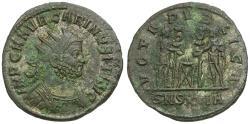Ancient Coins - Carinus (AD 283-285) Silvered Antoninianus / Carinus and Numerian Sacrificing