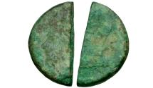 Ancient Coins - Roman Republic. Sextus Pompey Æ AS Cut in Half for Change