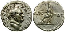 Ancient Coins - Vespasian AR Denarius / Vesta seated