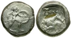 Ancient Coins - Pamphylia. Aspendos archaic-style AR Stater / Hoplite