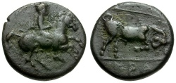 Ancient Coins - Thessaly.  Krannon Æ14 / Horseman and Bull
