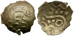 Ancient Coins - Britain. North Eastern Region. Corieltavi. Uninscribed issue. Lindsey Scyphate type pale AV 1/4 stater