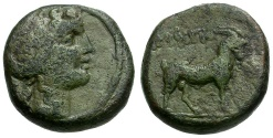 Ancient Coins - Macedon.  Amphipolis Æ17 / Dionysos and Goat