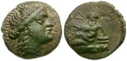 Ancient Coins - Thrace. Odessos Æ13 / Reclining god