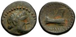 Ancient Coins - Phoenicia.  Arados Æ17 / Ram of Galley