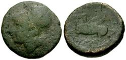 Ancient Coins - F/F Bruttium, Lokroi Epizephyrii Æ24 / Athena / Pegasus