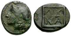 Ancient Coins - Macedon. Akanthos Æ12 / Athena