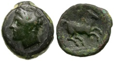 Ancient Coins - Sicily, Carthaginians in Sicily. Siculo-Punic Æ15 / Horse