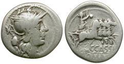 Ancient Coins - 126 BC - Roman Republic. C. Cassius AR Denarius / Libertas in Quadriga