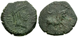 Ancient Coins - Spain.  Obulco Æ22 / Apollo / Bull