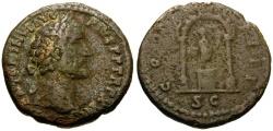 Ancient Coins - Antoninus Pius Æ AS / Figure in Shrine