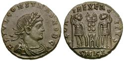 Ancient Coins - Constans, as Caesar (AD 333-337) Æ4 / Soldiers and Standards