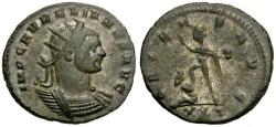 Ancient Coins - Aurelian Silvered Antoninianus / Sol and Captive