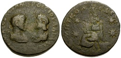 Ancient Coins - Severus Alexander and Julia Mamaea, Mesopotamia Edessa Æ28 / Tyche seated