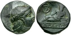 Ancient Coins - Thrace. Odessos Æ16 / Reclining god