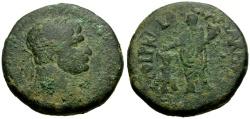 Ancient Coins - Trajan, Samaria Caesarea Æ25 / Emperor Sacrificing