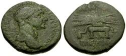 Ancient Coins - Trajan, Syria, Seleucia-Pieria Æ25 / Thunderbolt on Stool