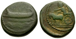 Ancient Coins - aVF/aVF Phoenicia, Sidon Æ18 / War Galley / Chariot