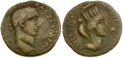 Ancient Coins - Severus Alexander. Mesopotamia Nisibis Æ27 / Bust of Tyche
