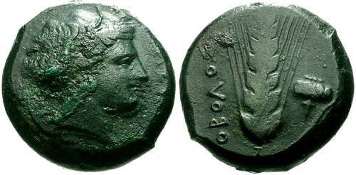 Ancient Coins - VF/VF Metapontum Lucania AE 21 / Persephone / Barley and Poppy