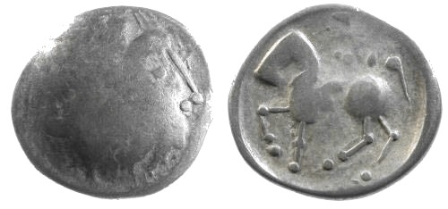 Ancient Coins - aVF/aVF Danubian Celtic Copy Coinage of Philip II of Macedon