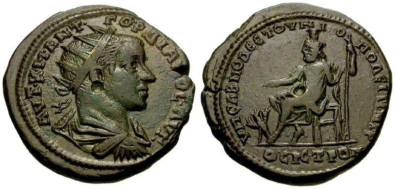Ancient Coins - Gordian III, Moesia Inferior, Nikopolis ad Istrum Æ27 / Hades-Serapis and Cerberus