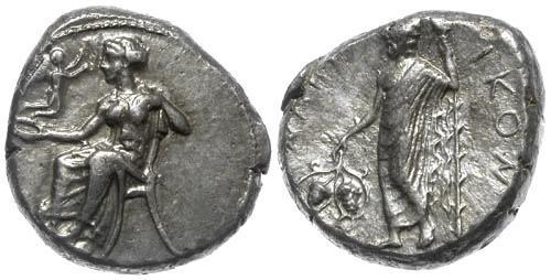 Ancient Coins - EF/EF Cilicia Nagidos AR Stater with Aphrodite, Eros and Dionysos