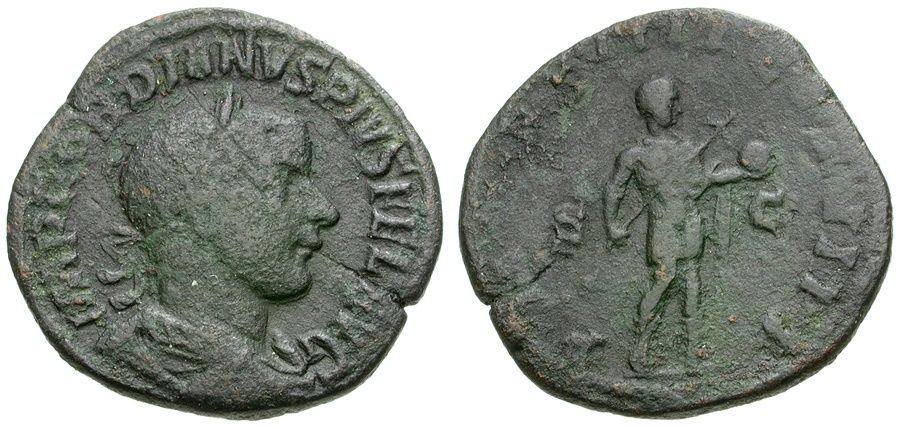 Ancient Coins - Gordian III Æ Sestertius / Emperor in Military Dress