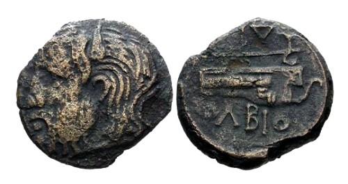 Ancient Coins - aVF/aVF Olbia Sarmatia AE22 / River god and Battle Axe