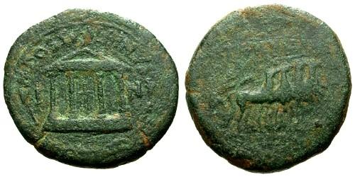 Ancient Coins - gF/aF Tiberius Carthago Nova AE Semis / Temple / Quadriga
