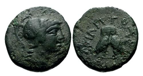 Ancient Coins - VF/aVF Mysia Miletopolis AE19 / Owls
