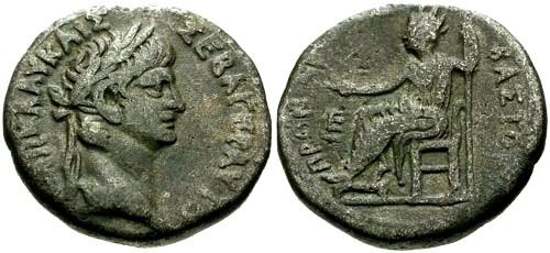Ancient Coins - VF/aVF Nero Billon Tetradrachm Egypt Alexandria / Nero Seated