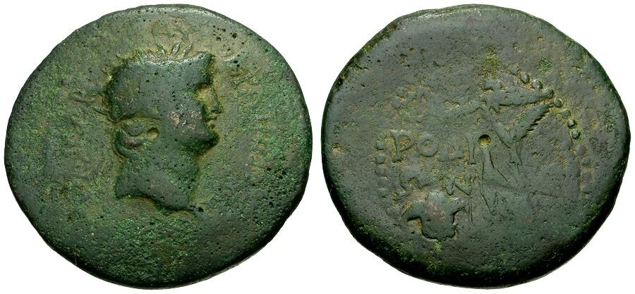 Ancient Coins - Nero.  Islands of Caria.  Rhodos Æ37 / Nike